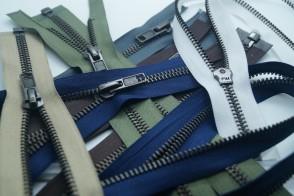Reißverschluss Metall Brüniert GROBE Schiene #8 für Leder und Motorradjacken, teilbar