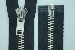 Reißverschluss Metall Silber GROBE Schiene #8 für Leder und Motorradjacken, teilbar