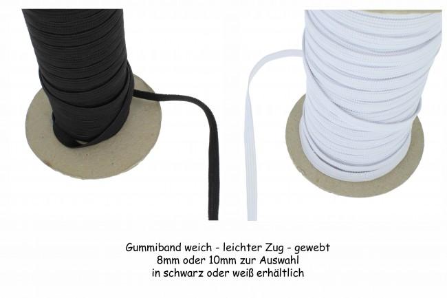 weiß schwarz Gummiband Gummilitze 10 mm breit