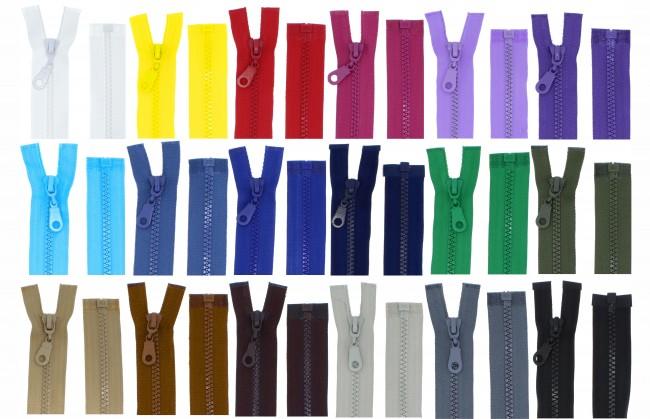 2 Reißverschlüsse mit Zähnchen 60cm teilbar Kunstoff für Jacken