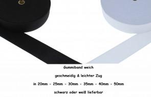 (0,36€/m) Gummiband weich Gummilitze gewebt leichter Zug, 25 Meter / Rolle