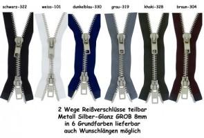 SONDERLÄNGEN 2 Wege Reißverschluss GROB Metall Silber - Glanz #8, teilbar