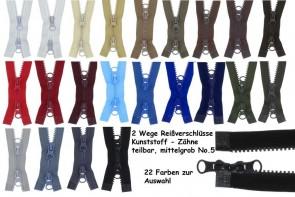 SONDERLÄNGEN 2 Wege Reißverschluss Plastik Kunststoff Krampe Zähne #5, teilbar
