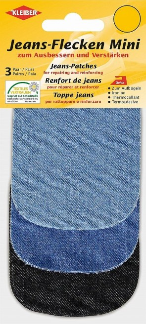 3 Paar Mini Jeans-Flicken zum Aufbügeln