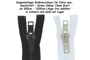 beidseitiger Reißverschluss teilbar Kunststoff GROB mit Doppelschieber bis zu 10 Meter