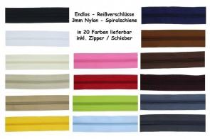 (0,89€/m )10 Meter Endlos Reißverschluss 3mm, inkl. 20 Zipper