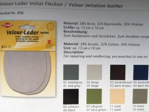 Velour-Leder Imitat zum Annähen 896 Leder-Flecken Flicken