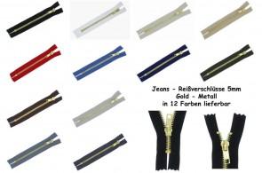 Jeans Reißverschluss Metall Gold #5, nicht teilbar