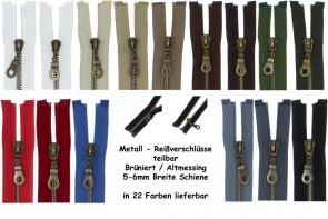 SONDERLÄNGEN Reißverschluss Metall Brüniert Altmessing #5, teilbar
