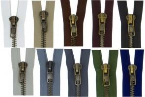 Reißverschluss Metall Brüniert GROBE Schiene #8 teilbar