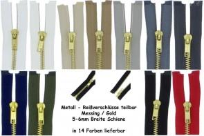 SONDERLÄNGEN Reißverschluss Metall Gold Messing #5, teilbar