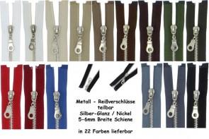 SONDERLÄNGEN Reißverschluss Metall Silber Nickel #5, teilbar