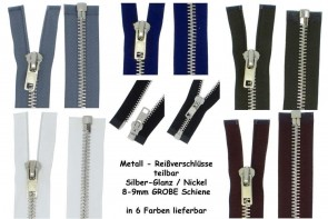 SONDERLÄNGEN Reißverschluss Metall Silber GROBE Schiene #8 teilbar