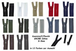 SONDERLÄNGEN Reißverschluss Plastik Kunststoff GROBE Zähne #8 für Leder und Motorradjacken, teilbar