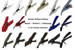 WENDE Reißverschluss Metall Brüniert Altmessing #5, teilbar